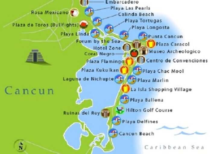 Mapa turístico de Cancún