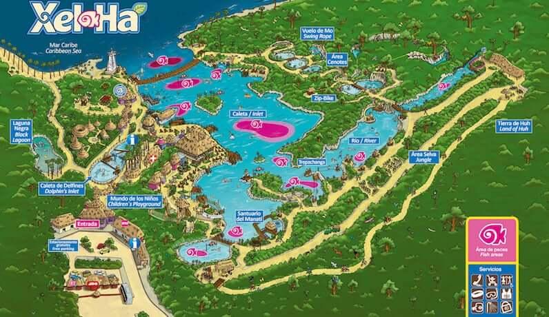 Mapa del Parque Xel-Há en Cancún