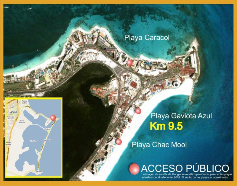 Mapa de la Playa Caracol en Cancún